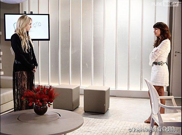 """Em """"Geração Brasil"""": Megan (Isabelle Drummond) vai até camarim de Manu (Chandelly Braz) e diz poucas e boas!"""