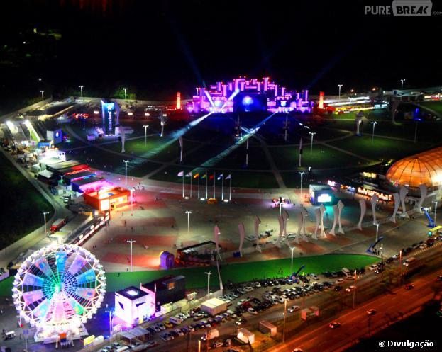 Vista da Cidade do Rock, palco do Rock in Rio, que começa sexta-feira (13/09), e espera receber 255 mil pessoas no primeiro final de semana do festival.