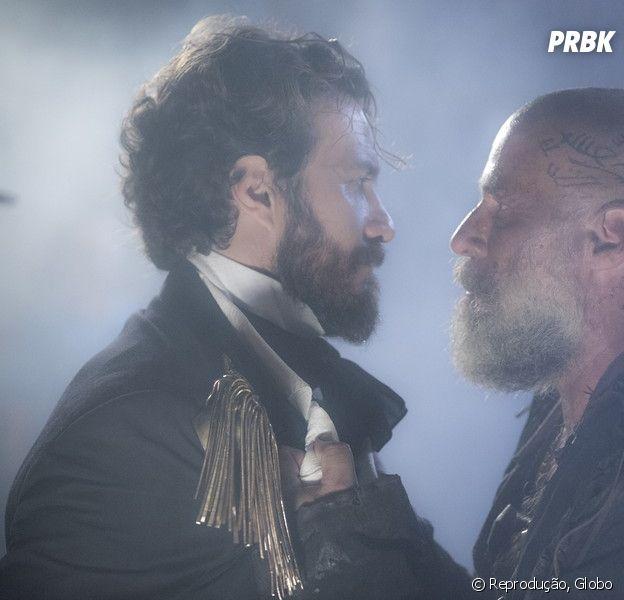 """Thomas (Gabriel Braga Nunes) será assassinado por Fred Sem Alma (Leopoldo Pacheco) no final de """"Novo Mundo"""""""
