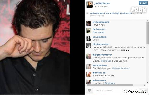 Justin Bieber provoca Orlando Bloom no Instagram