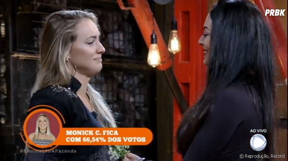 """Nesta quinta-feira (23) em""""A Fazenda - Nova Chance"""",Monique Amin foi eliminada e Monick Camargo continuou no jogo"""