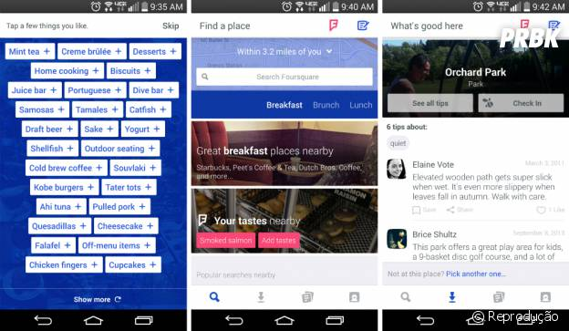 Interface do Foursquare com diversos filtros
