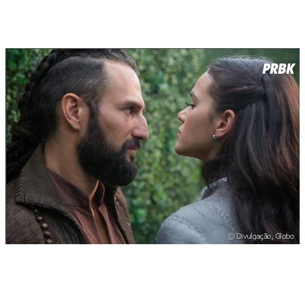 """Em """"Deus Salve o Rei"""", Catarina (Bruna Marquezine) e Constantino (José Fidalgo) finalmente se conhecem"""