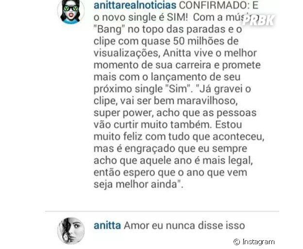 """Anitta e seu famoso bordão """"amor eu nunca disse isso"""""""