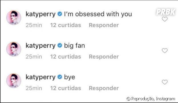 Katy Perry comenta no Instagram de Orlando Bloom que está obcecada por ele