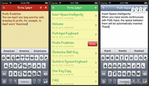 """Path Input - Swipe Keyboard Note"" coloca a facilidade dos swipe no iOS"