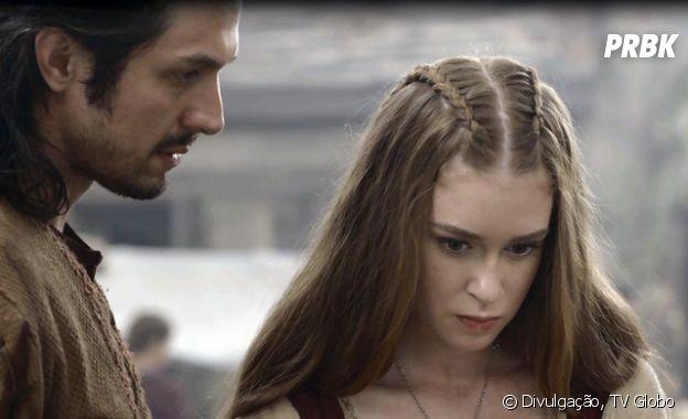 """Em """"Deus Salve o Rei"""", Amália (Marina Ruy Barbosa) fica decepcionada com decisão de Afonso (Romulo Estrela) de casar com Catarina (Bruna Marquezine)"""