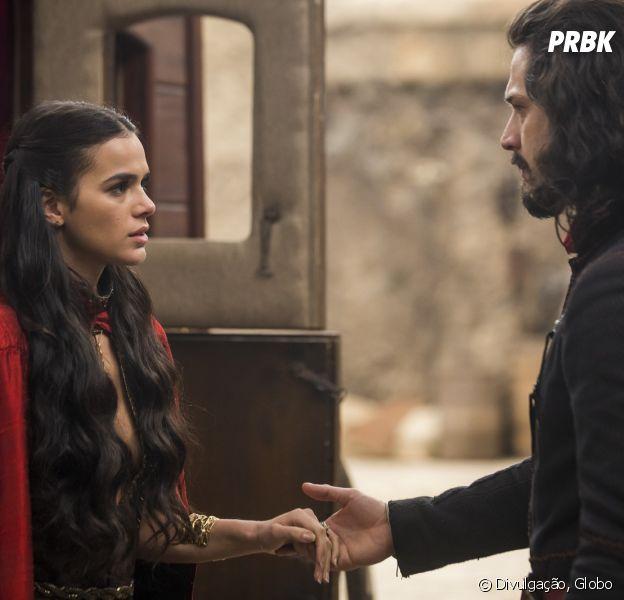 """Em """"Deus Salve o Rei"""", Afonso (Romulo Estrela) aceita se casar com Catarina (Bruna Marquezine)!"""