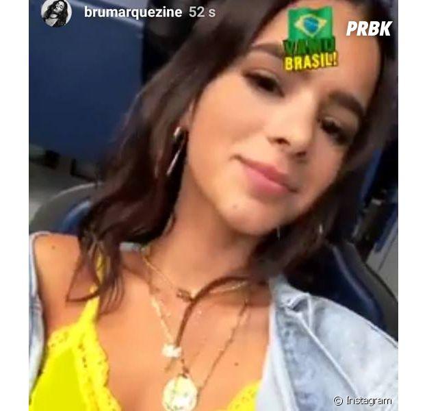 """Bruna Marquezine apostou em look """"ousadia e alegria"""" pra torcer por Neymar na Rússia"""