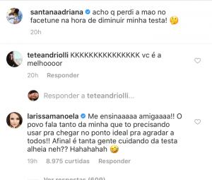 Larissa Manoela brinca com comentários sobre sua tsta