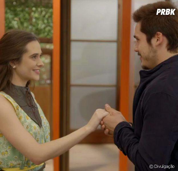 """Em """"O Tempo Não Para"""", relação entre Samuca (Nicolas Prattes) e Marocas (Juliana Paiva) fica prejudicada por causa de Betina (Cleo)"""