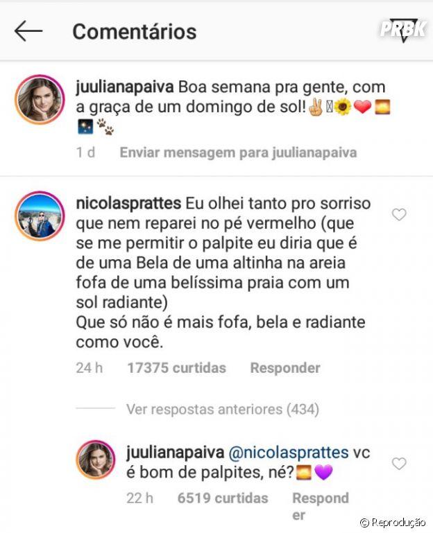 Juliana Paiva recebe declaração de Nicolas Prattes através de comentário do Instagram