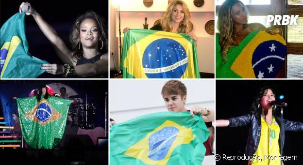 Justin Bieber, Beyoncé, Katy Perry, Shakira, Demi Lovato e Rihanna com a bandeira do Brasil