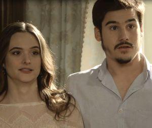 """Em """"O Tempo Não Para"""": Marocas (Juliana Paiva) recusa plano de fuga de Samuca (Nicolas Prattes)"""