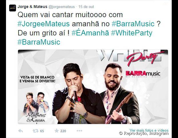 Jorge e Mateus farão um show incrível no Rio de Janeiro nesta quinta-feira (16)!