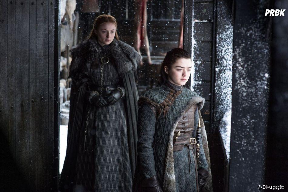 """Arya (Maisie Williams) e Sansa (Sophie Turner) vão se unir mais ainda no final de """"Game of Thrones"""""""