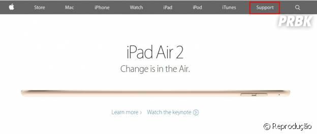 "Acesse o site americano da Apple e clique na aba ""support"""