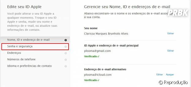 """Na sessão """"Senha e Segurança"""", nela você pode configurar a """"Verificação em dois passos"""". acesse o link """"Abrir"""""""