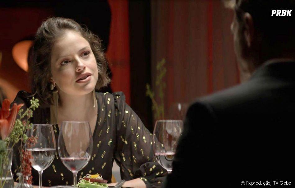 """Novela """"A Dona do Pedaço"""": Josiane (Agatha Moreira) começa a encontrar comRégis (Reynaldo Gianecchini) com bastante frequência"""