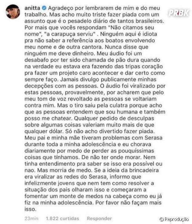 Anitta se irrita com piada de empresa sobre os 70 mil dólares