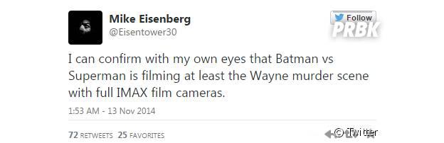 O diretor de fotografia Mike Eisenberg contou a novidade em seu Twitter
