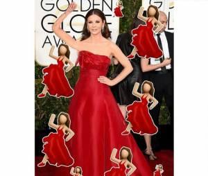 Catherina Zeta-Jones mais parecia um emoji ambulante no Globo de Ouro 2015