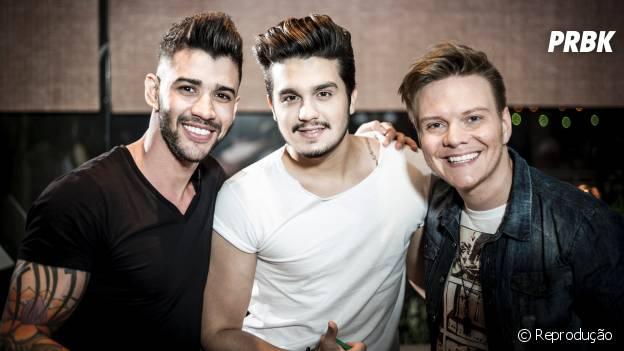 Michel Teló com os amigos Luan Santana e Gusttavo Lima