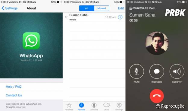A função, do Whatsapp, de ligação ainda está em fase de testes para o sistema Apple