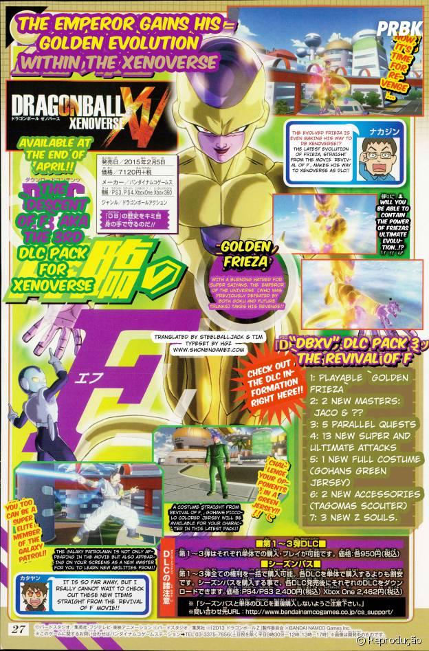"""Página da revista Shonen Jump que mostra o terceiro DLC de """"Dragon Ball Xenoverse"""""""