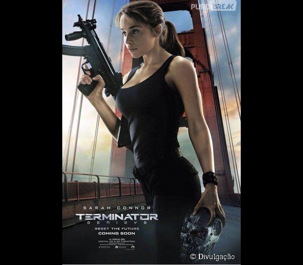 """Emilia Clarke, a Daenerys de """"Game of Thrones"""", aparece incrível como a Sarah Connor, em novo cartaz de """"O Exterminador do Futuro: Gênesis"""""""