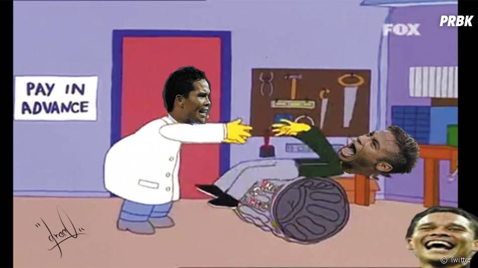 Neymar Jr. tentou dar uma cabeçada em Murillo e o atacante Bacca o empurrou