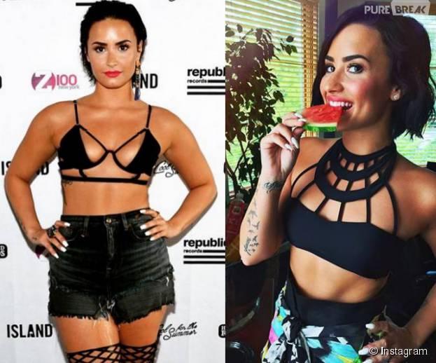da14d7b76 Demi Lovato passou a apostar no strappy bra em sua nova fase