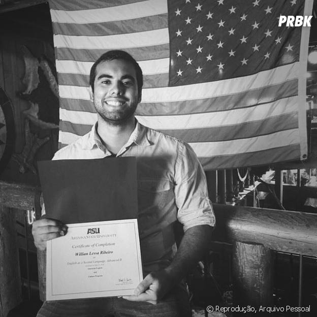 Willian Lessa Ribeiro após concluir o curso de Inglês durante seu intercãmbio no Arizona, nos Estados Unidos