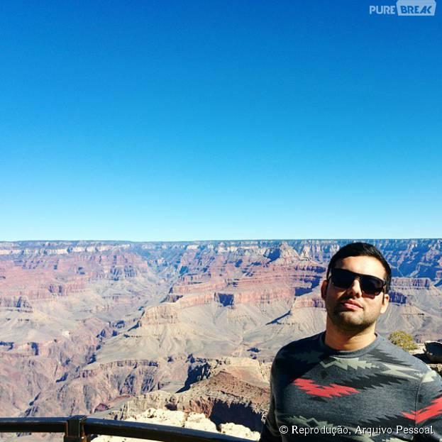 Willian Lessa Ribeiro posa no Grand Canyon, maior ponto turistíco do estado do Arizona, nos Estados Unidos, onde o jovem fez seu intercãmbio
