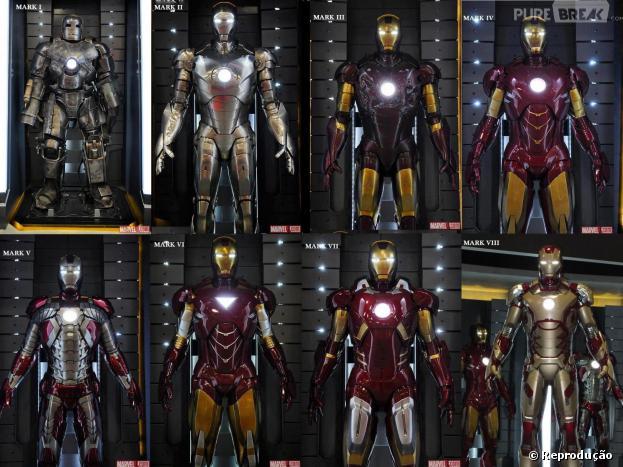 """Versões das armaduras do """"Homem de Ferro"""" no filme do herói"""