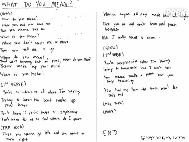 "Justin Bieber revela letra do hit ""What Do You Mean"""