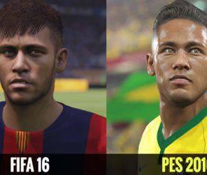 Neymar Jr. em comparação dos visuais de ambos os simuladores de futebol