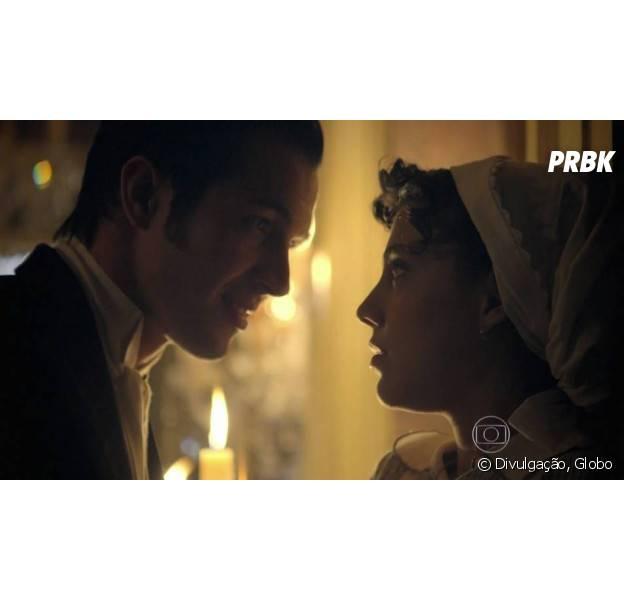 """Em """"Além do Tempo"""": Roberto (Rômulo Estrela) tenta reconquistar Anita (Letícia Persiles)"""