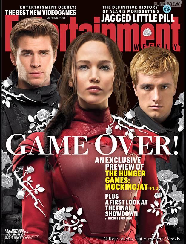"""O elenco de """"Jogos Vorazes: A Esperança - O Final"""" estampa a capa da revista Entertainment Weekly"""
