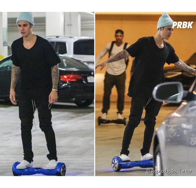 Justin Bieber adora passear por aí de hoverboard