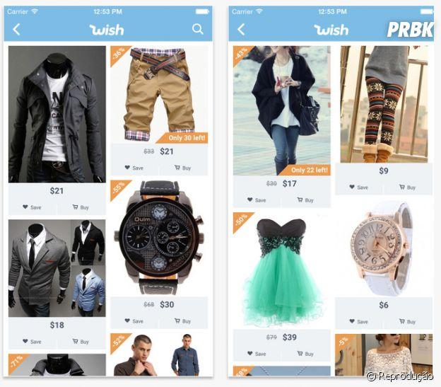 """O app """"Wish"""" atende com produtos bem diversos"""