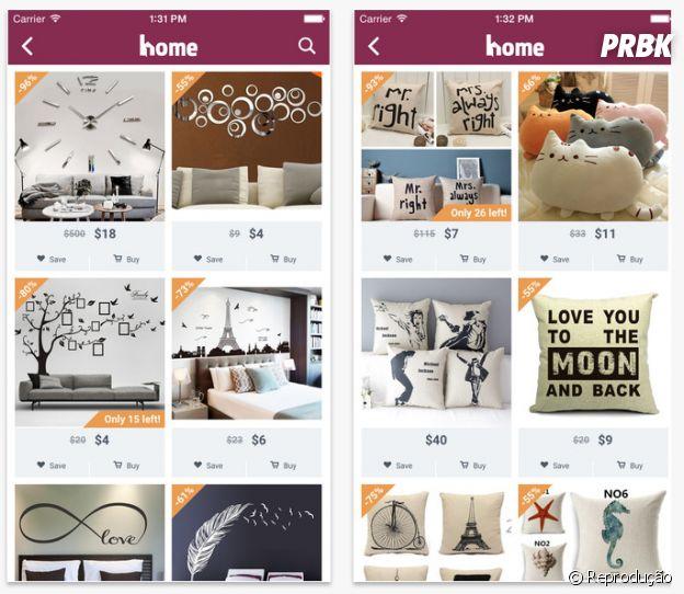 """Com foco em decoração e items para casa, o app """"Home"""" oferece muitas promoções"""