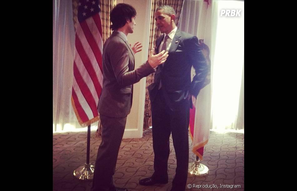Ian Somerhalder mostrou que tá com moral ao publicar uma foto ao lado do Presidente Obama