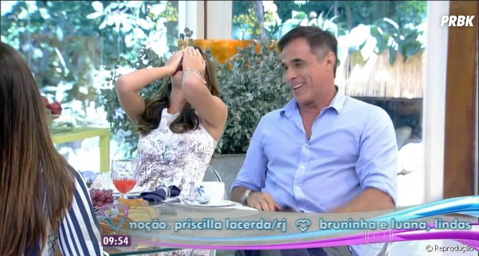 """Bruna Marquezine e Oscar Magrini, atores de """"Em Família"""", se divertiram durante o programa """"Mais Você"""""""