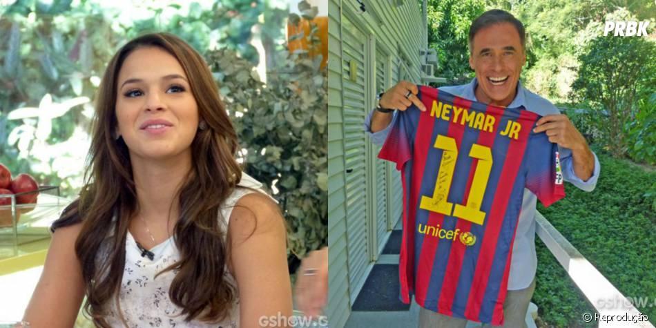 """Durante o programa """"Mais Você"""", Bruna Marquezine entregou uma camisa autografada por Neymar para o seu companheiro de elenco de """"Em Família"""", Oscar Magrini"""