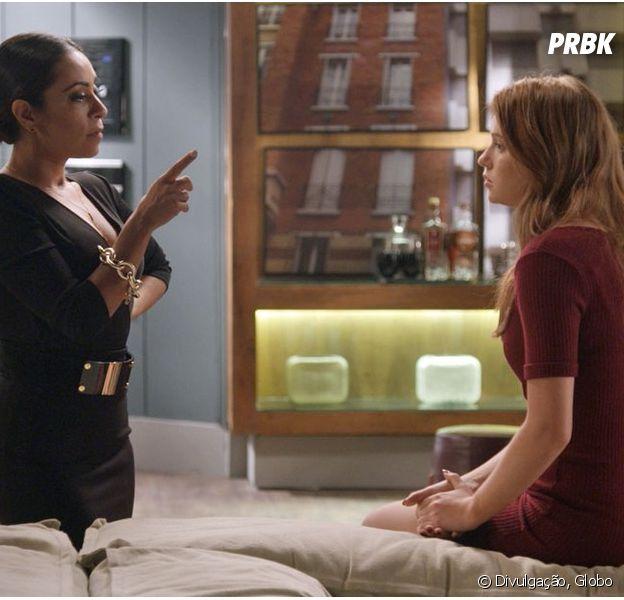 """Em """"Totalmente Demais"""", Eliza (Marina Ruy Barbosa) descobre por Dorinha (Samantha Schmütz) sobre aposta entre Carol (Juliana Paes) e Arthur (Fábio Assunção)"""