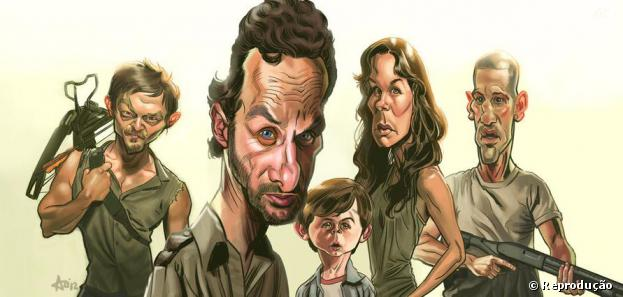 "O elenco de ""The Walking Dead"" como se fossem caricaturas"