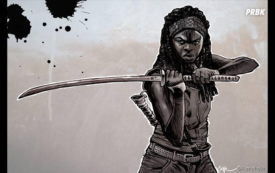 A defensora dos sobreviventes Michonne ( Danai Gurira), com sua poderosa Katana