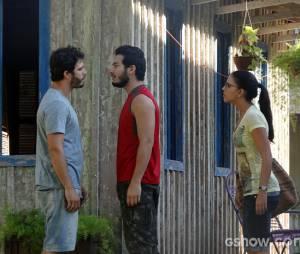 """William (Thiago Rodrigues) está em pé de guerra com Matias (Begê Muniz) pelo amor de Celina (Mariana Rios) em """"Além do Horizonte"""""""