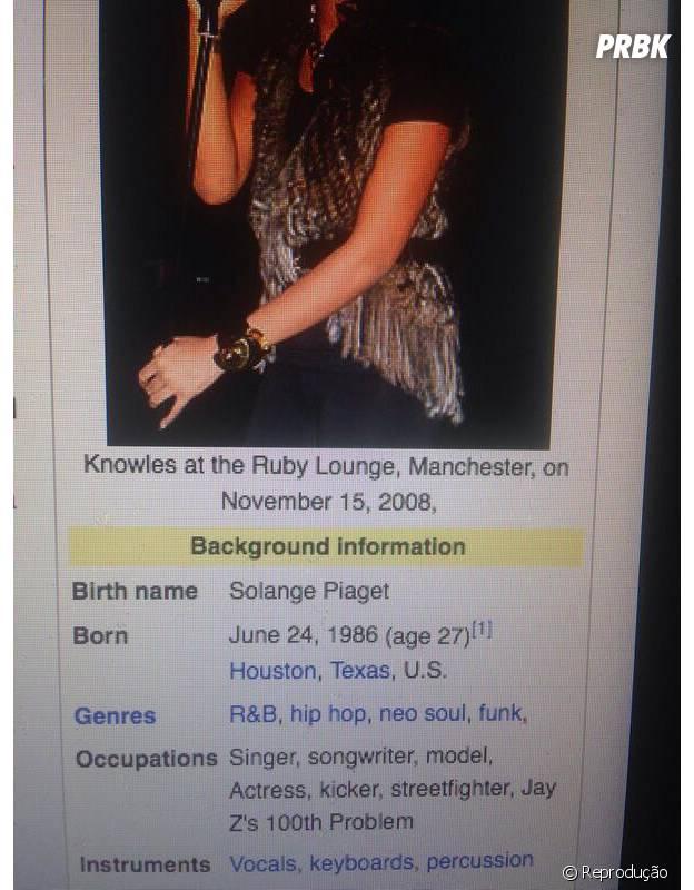 Solange e suas novas ocupações no Wikipedia